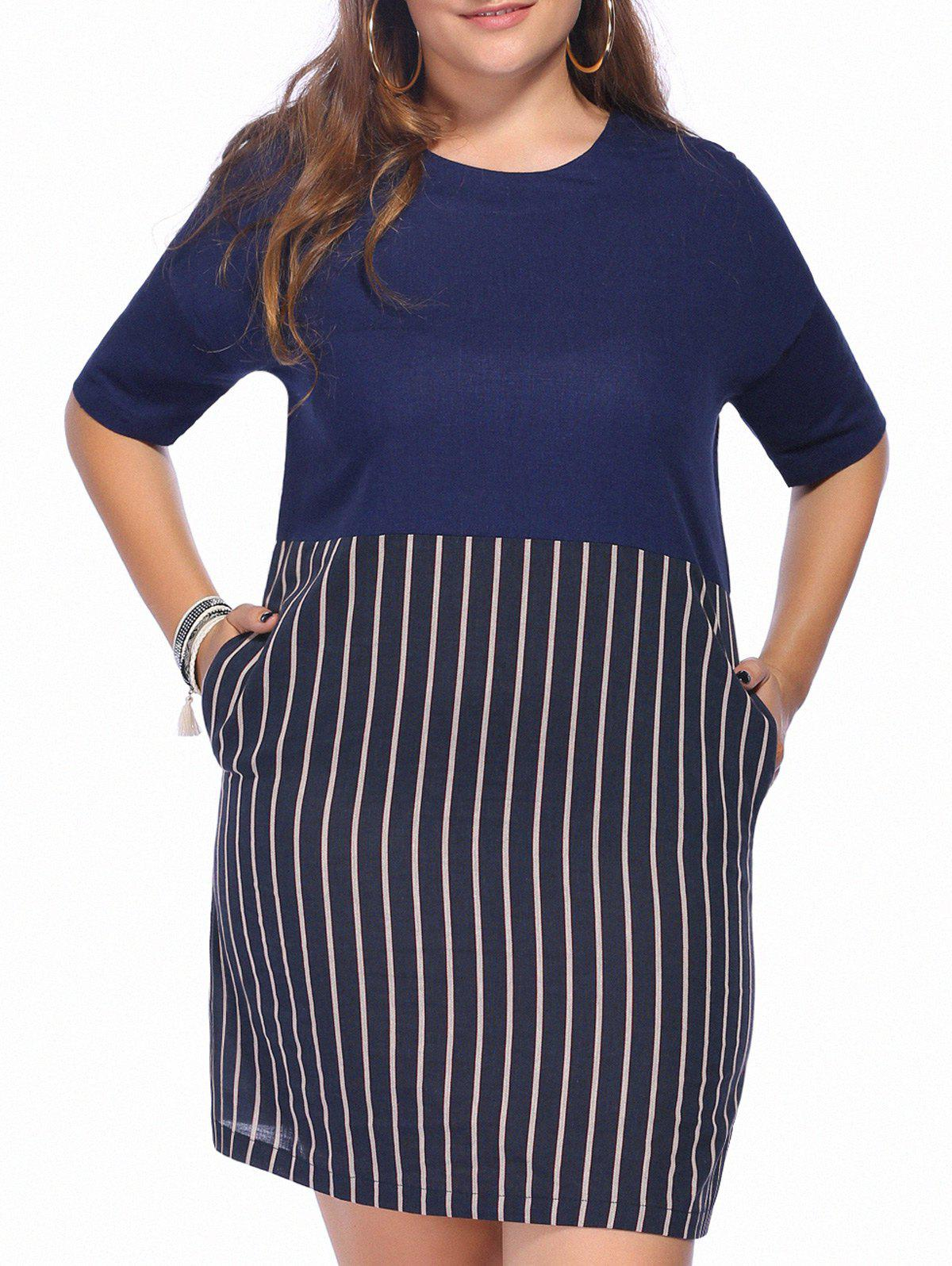 Casual Plus Size Striped Color Block Women's Dress - BLUE 5XL