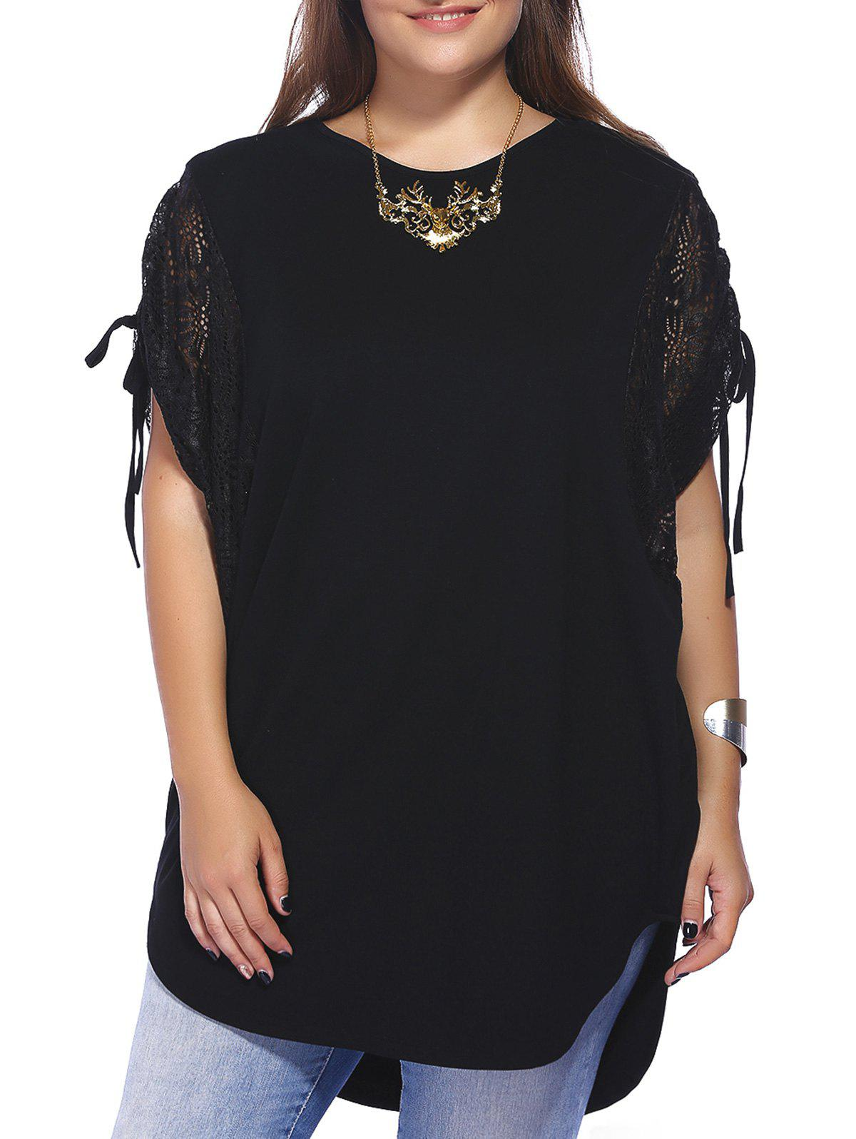 Chic Plus Size Batwing Sleeve Lace Patchwork Women's Blouse