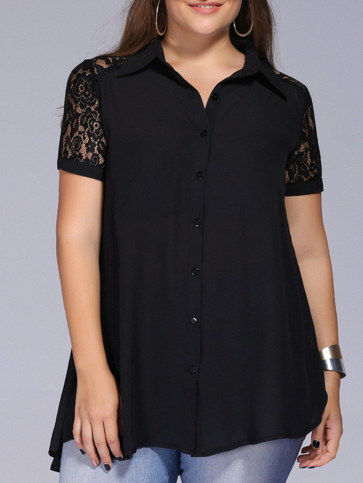 Lace Trim Plus Size Tunic Blouse - BLACK XL