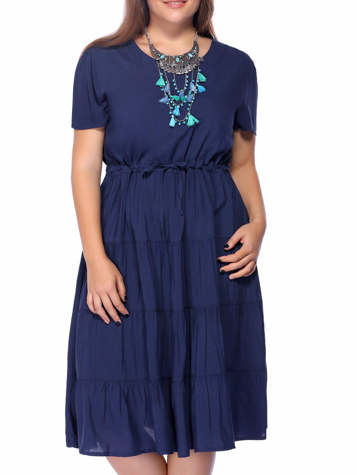 Chic Plus Size A-Line Pure Color Women's Dress - BLUE 2XL