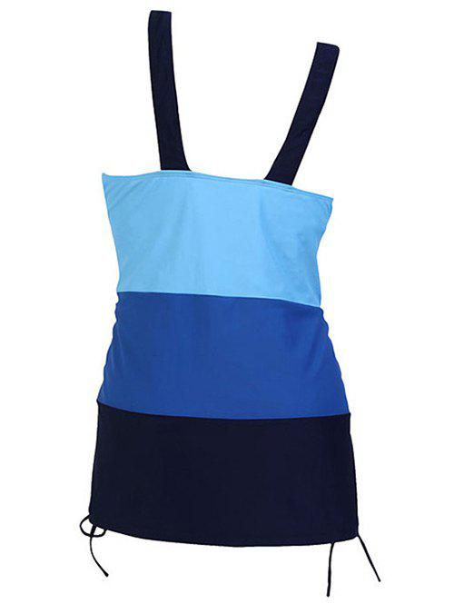 Sweetheart Neck Color Block Drawstring Lady's Swimsuit - BLUE 5XL