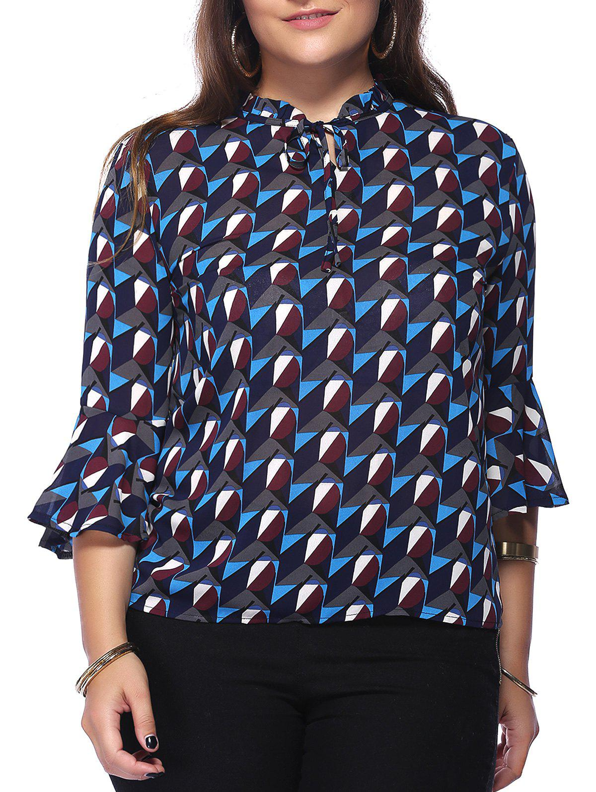 Chic Plus Size Ruffled Collar Flounced Sleeve Women's Blouse - COLORMIX 5XL