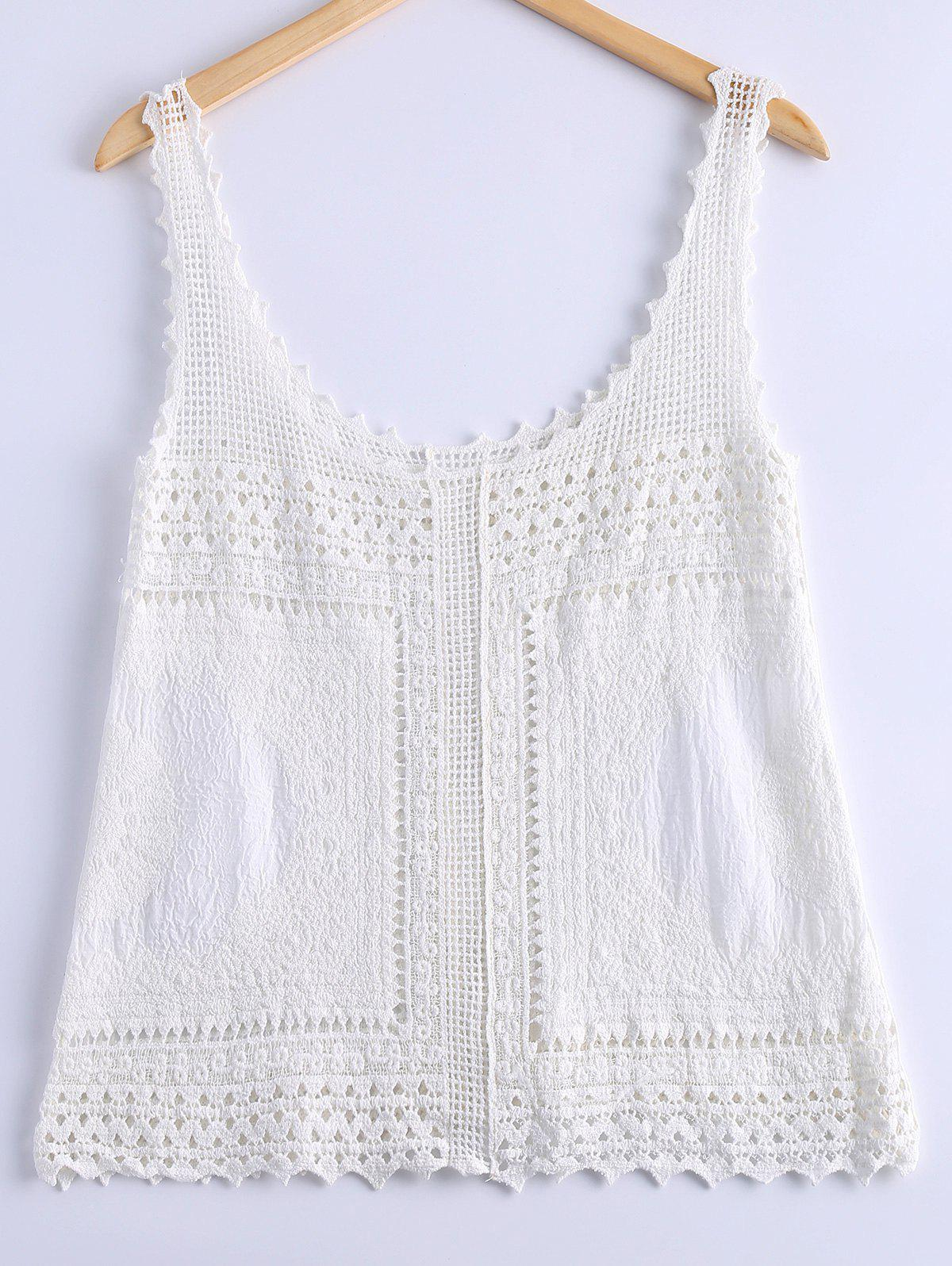 Fashionable Womens Lace Crochet Tank TopWomen<br><br><br>Size: ONE SIZE(FIT SIZE XS TO M)<br>Color: WHITE