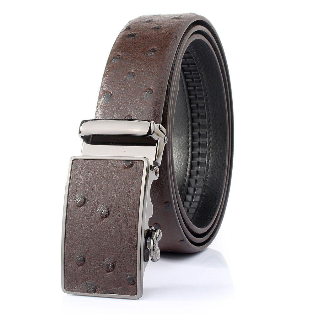 Stylish Ostrich Skin Embossing Faux Leather Men's Wide Belt - COFFEE