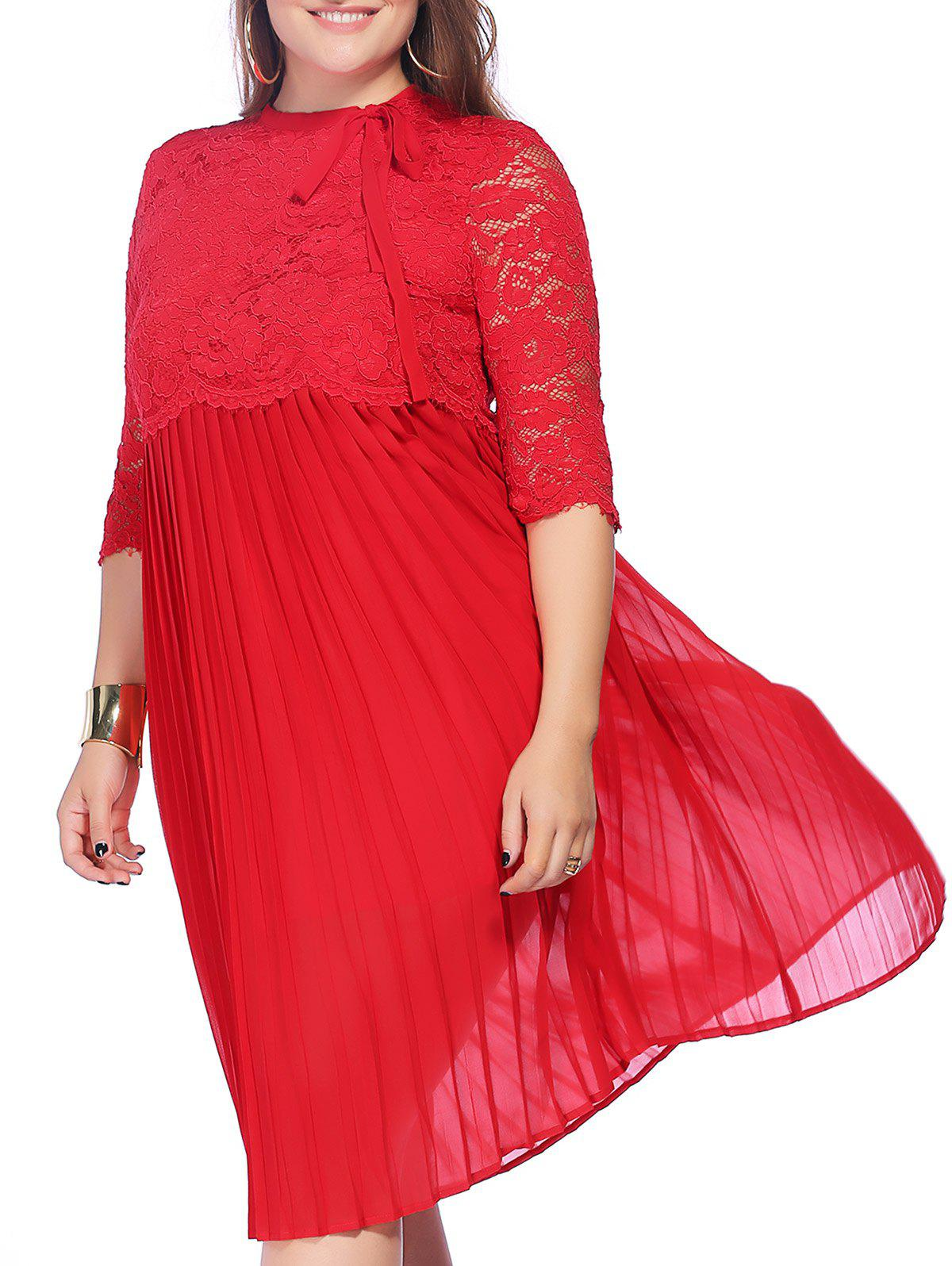 Sweet Plus Size Pleated 3/4 Sleeve Lace Design Women's Prom Dress - RED 5XL