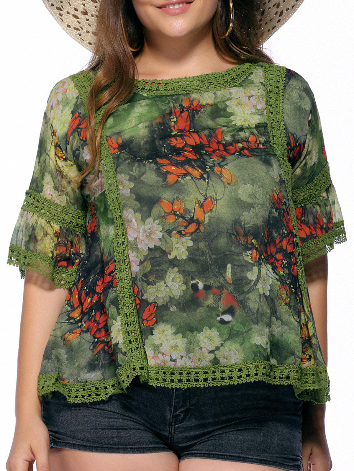 Chic Plus Size Floral Print Flare Sleeve Women's Blouse - GREEN 5XL