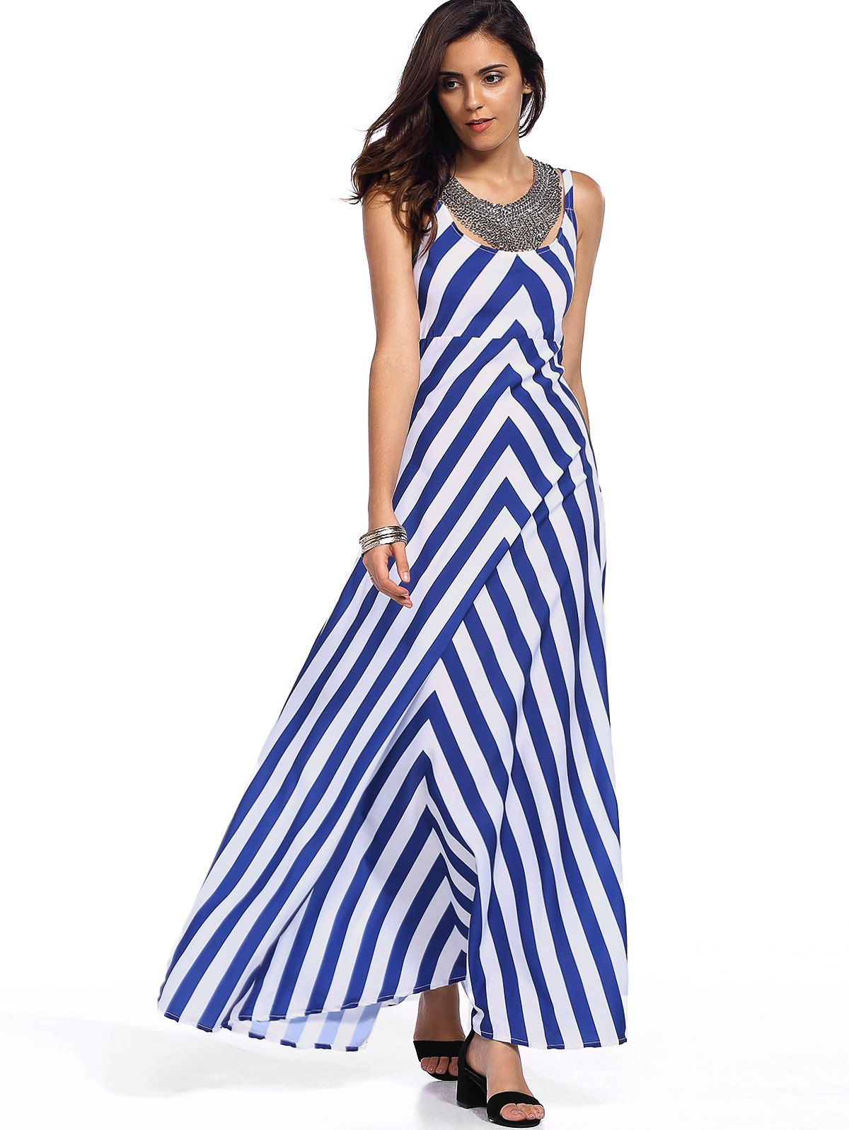 Stylish Sleeveless Zig Zag Tank Dress For Women - STRIPE XL
