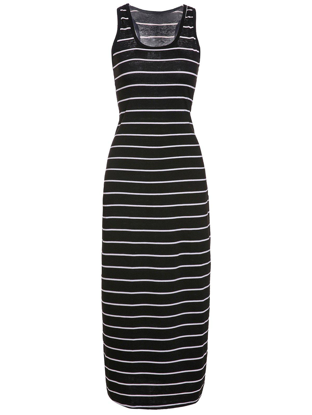 Sleeveless Scoop Neck Striped Maxi Dress - BLACK L