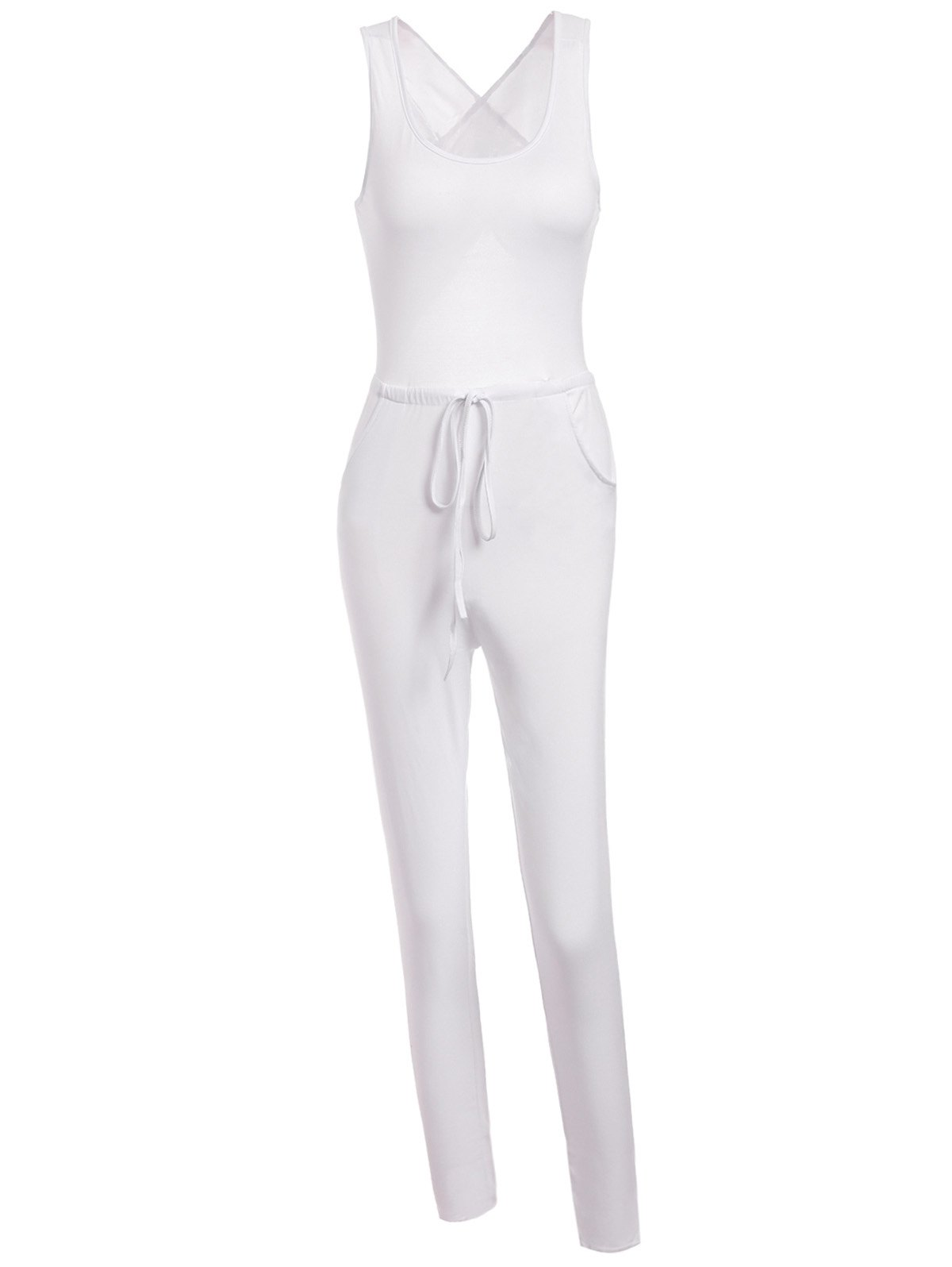 Stylish Scoop Neck Sleeveless Drawstring Hollow Out Women's Jumpsuit - WHITE L