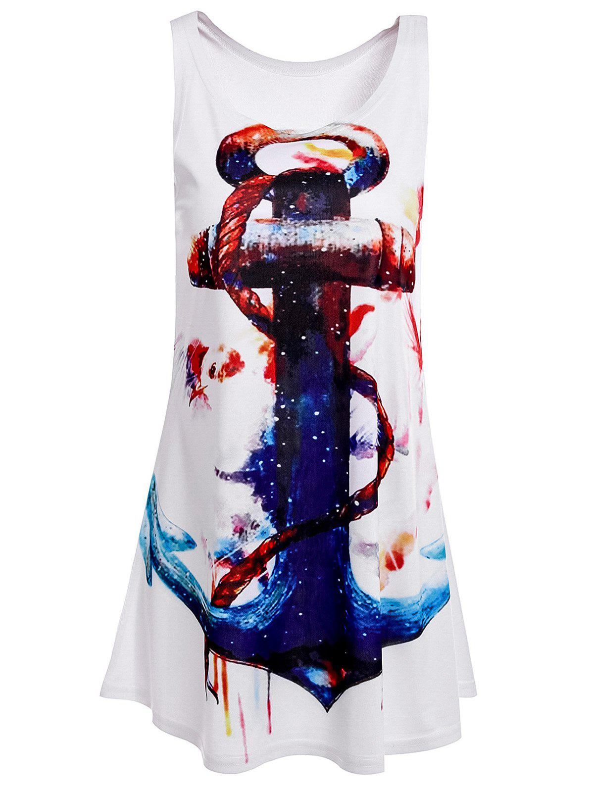 Casual Anchor Print Scoop Neck Sleeveless T-Shirt For Women - ONE SIZE(FIT SIZE XS TO M) WHITE