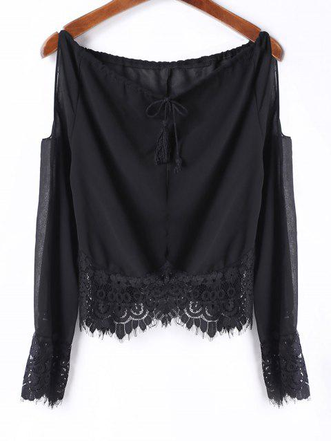 Sexy Long Sleeve Scoop Neck Off-The-Shoulder Women's Blouse - BLACK XL