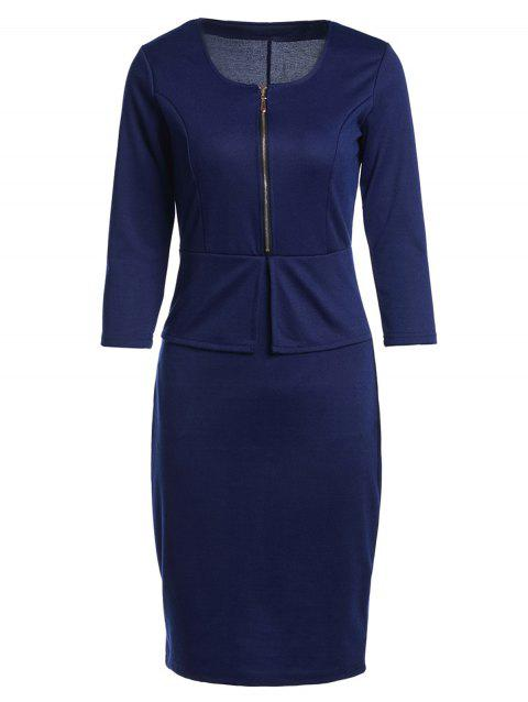 OL Style 3/4 Sleeve U Neck Faux Twinset Solid Color Women's Dress - BLUE S