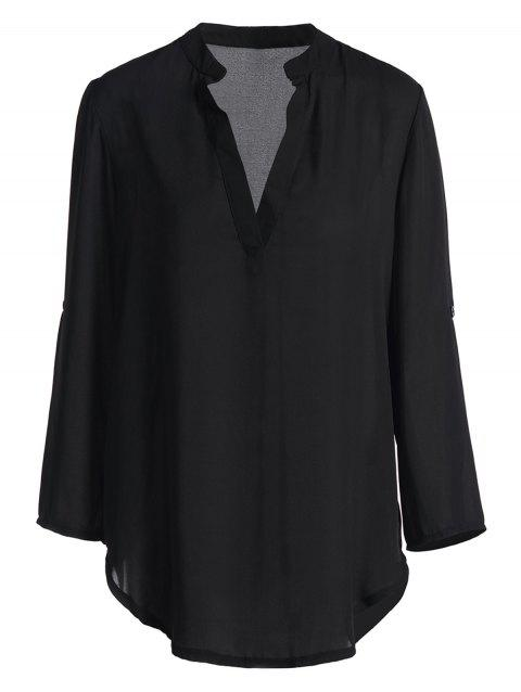 Simple Pure Color V-Neck Long Sleeve Blouse For Women - BLACK L