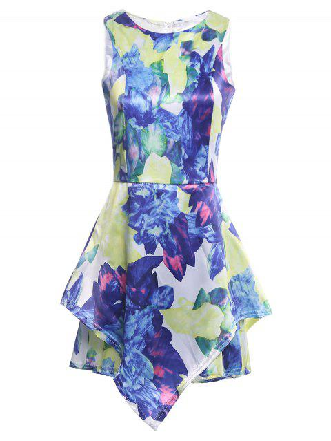 Floral Print Sleeveless Romper - COLORMIX S
