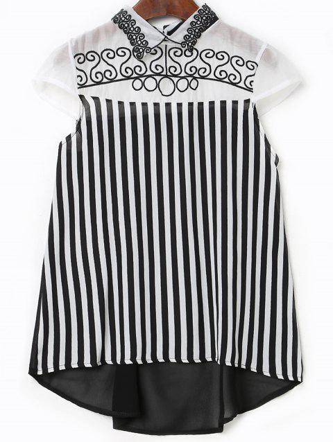 Stylish Women's Flat Collar Short Sleeves Embroidered Striped Blouse - WHITE/BLACK M