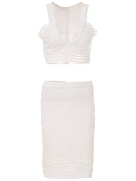 Stylish Women's Plunging Neck Sleeveless Short Tank Top and Skirt Suit - WHITE M