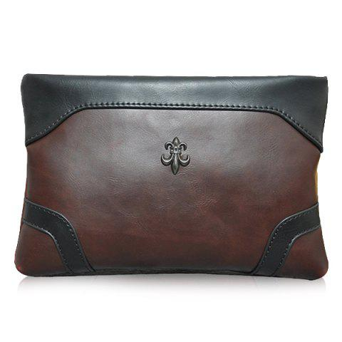 Trendy Métal et Zip design Men  's Pochette - Café