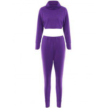 Stylish Women's Turtkeneck Long Sleeve Solid Color Crop Top and Pants Suit
