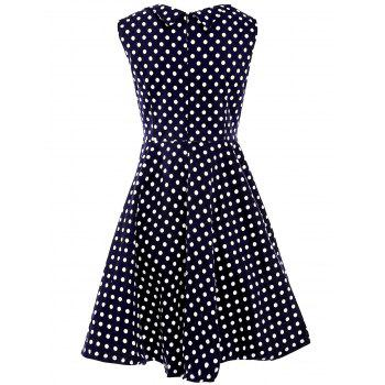 Sweet Polka Dot Print Sweetheart Neck Sleeveless Dress For Women - S S