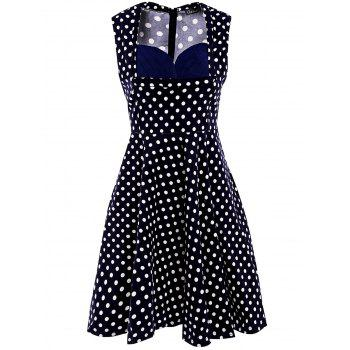 Sweet Polka Dot Print Sweetheart Neck Sleeveless Dress For Women - PURPLISH BLUE XL
