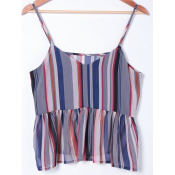 Stylish Spaghetti Straps Striped Top For Women - COLORMIX L