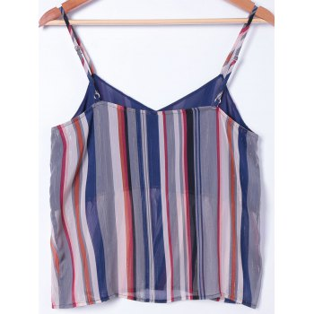 Stylish Spaghetti Straps Striped Top For Women - COLORMIX M