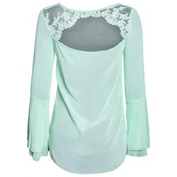 Stylish Scoop Neck Lace Spliced Backless Two-Piece Flare Sleeve Women's Blouse - GREEN GREEN