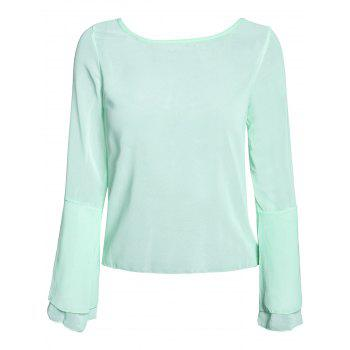 Stylish Scoop Neck Lace Spliced Backless Two-Piece Flare Sleeve Women's Blouse - GREEN XL