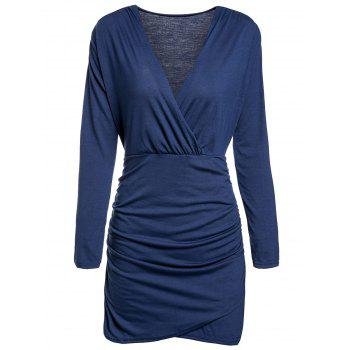 Alluring Plunging Neck Long Sleeve Ruffled Solid Color Women's Dress
