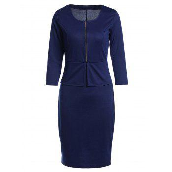 OL Style 3/4 Sleeve U Neck Faux Twinset Solid Color Women's Dress