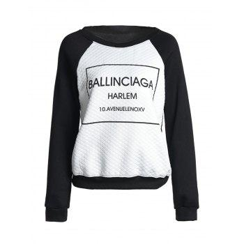 Casual Long Sleeve Round Neck Flocking Letter Print Women's Sweatshirt - BLACK L