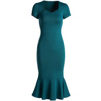 Elegant Green Sweetheart Neck Bodycon Fishtail Dress For Women
