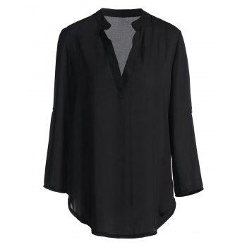 Simple Pure Color V-Neck Long Sleeve Blouse For Women