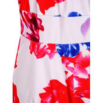 Trendy Floral Print dos ouvert spaghetti Strap femmes robe - multicolore M