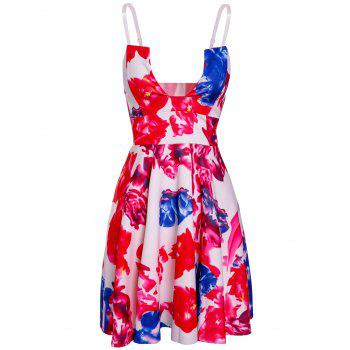 Trendy Floral Print Open Back Spaghetti Strap Women's Dress