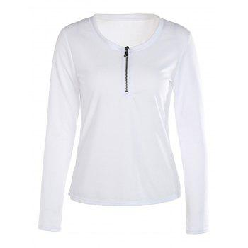 Refreshing White Scoop Neck Zippered Long Sleeve T-Shirt For Women