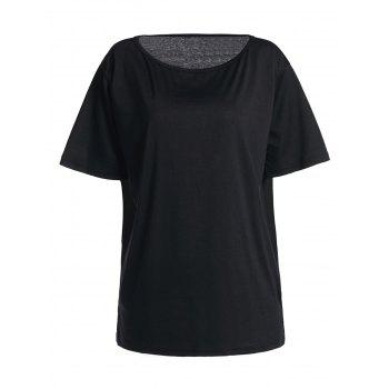 Sexy Candy Color Skew Collar Short Sleeve T-Shirt For Women
