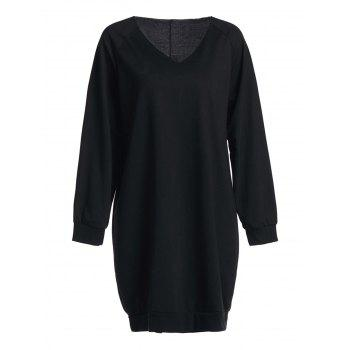 Simple Black V-Neck Long Sleeve Sweater For Women