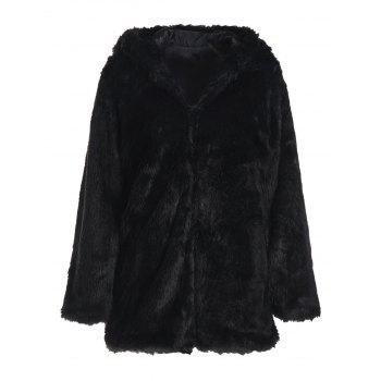 Noble Long Sleeve Hooded Faux Fur Women's Black Coat