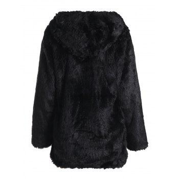 Noble Long Sleeve Hooded Faux Fur Women's Black Coat - 2XL 2XL