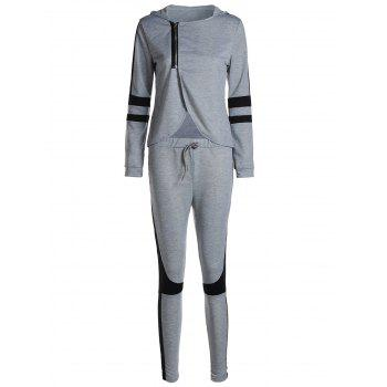 Stylish Long Sleeve Hooded Irregular Zippered Sweatshirt + Drawstring Pants Women's Twinset