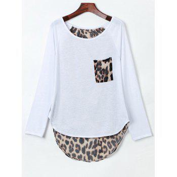 Stylish Jewel Neck Long Sleeve Slit Leopard Spliced Women's T-Shirt