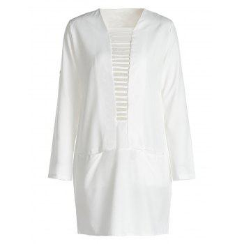 Simple Style White Plunge Neck Long Sleeve T-Shirt Dress For Women