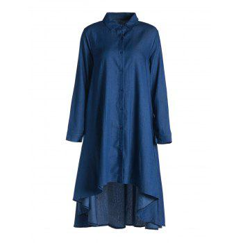 Stylish Women's Shirt Collar Long Sleeve  High-Low Denim Dress - BLUE L
