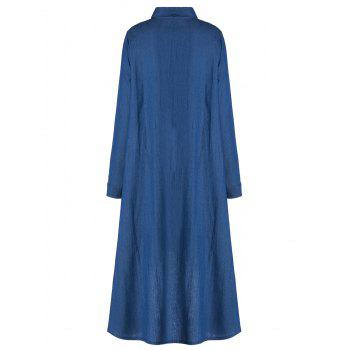 Stylish Women's Shirt Collar Long Sleeve  High-Low Denim Dress - BLUE BLUE