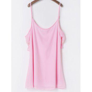 Casual Spaghetti Strap 3/4 Sleeve Solid Color Backless Women's Dress - PINK PINK