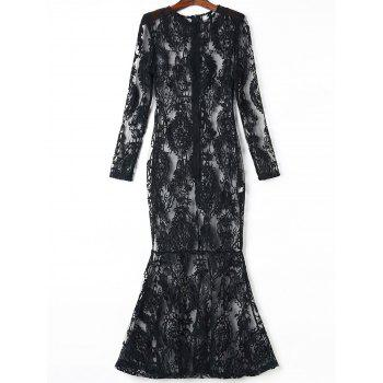 Charming Women's Jewel Neck Long Sleeve See-Through Maxi Dress