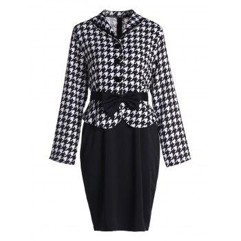 Stylish Turn-Down Collar Long Sleeve Bowknot Embellished Houndstooth Women's Dress