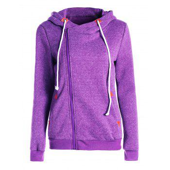 Trendy Hooded Skew Zippered Thick Long Sleeve Hoodie For Women