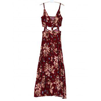 Bohemian Spaghetti Strap Sleeveless Floral Print Hollow Out High Slit Women's Dress